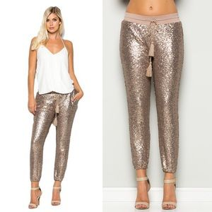 LAST - EVIE Sequin Joggers - ROSE GOLD